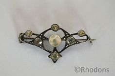 Antique Silver Brooch Set With Mother Of Pearl And Facet Cut Stones
