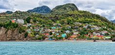 Colorful seaside village in St. Lucia.