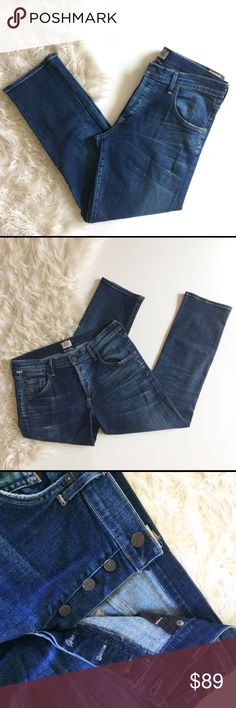 """Citizens of Humanity Emerson Slim Jeans Distressed Citizens of Humanity Slim boyfriend Size 29 Excellent condition  Soft denim, light distressing, Button fly Open to offers    Approximate measurements laying flat  Waist 17"""" Rise 10"""" Inseam 28""""  425 Citizens Of Humanity Jeans Boyfriend"""