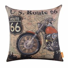 LINKWELL 18x18 inches Vintage USA Route 66 Motorcycle Man Cave Décor Burlap Throw Cushion Cover CC1162 * Click image to review more details. (This is an affiliate link and I receive a commission for the sales)