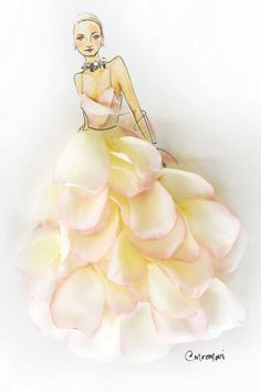 16 Iconic Oscar Dresses Reimagined as Flower Girl Illustrations From Lupita to Gwyneth, all your favorite Academy Award attendees pretty in petals and looking nothing short of award-worthy. Floral Fashion, Fashion Art, Fashion Trends, Flower Dresses, Nice Dresses, Sun Dresses, Flower Art Images, Dress Illustration, Oscar Dresses