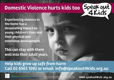 Domestic Violence hurts kids too - poster created for Speak Out 4 Kids project