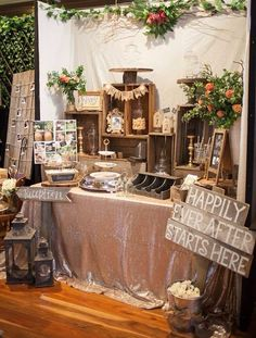 Gold sequinned tablecloth/rustic wooden crates/hessian bunting/mason jars/gold candlesticks/cake stands/jute jars mysweeteventhire .com.au