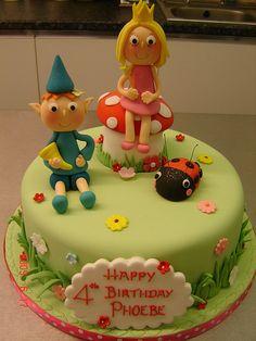 Ben and Holly's little kingdom cake by Helen Brinksman, sweet design. Fairy Birthday Party, Birthday Cake Girls, Birthday Cakes, 3rd Birthday, Ben And Holly Cake, Ben E Holly, Ben Elf, Dolly Varden Cake, Fondant