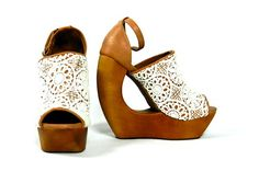 Jeffrey Campbell Rock Lace Biege and Ivory Cut Out Wedge Heels Maker of The Lita | eBay