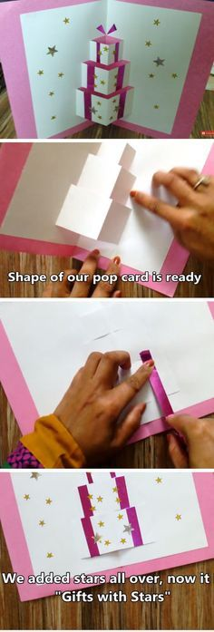 Gift Box Pop Up Card | Handmade Pop Up Christmas Cards for Kids to Make