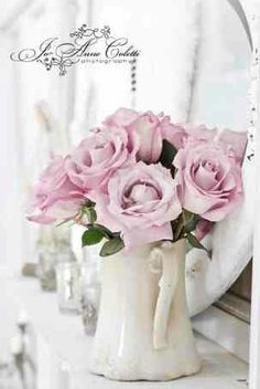 Love the pitcher with roses, great shabby chic decor. From: vintagerosecollection.