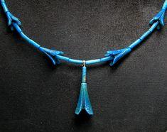 18th Dynasty Egyptian Blue Faience Jasmine Blossom Necklace