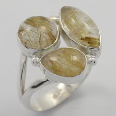 Pretty 925 Solid Sterling Silver Ring Size US 8 Real RUTILATED QUARTZ Gemstone #Unbranded