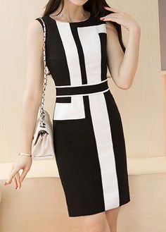 Color Block Zipper Back Sleeveless Dress on sale only US$38.69 now, buy cheap Color Block Zipper Back Sleeveless Dress at liligal.com