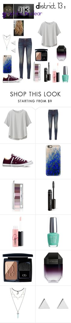 """""""Summer Style : District  13: Graphite ,  Nuclear"""" by dawndreader ❤ liked on Polyvore featuring Uniqlo, Frame Denim, Converse, Casetify, Clinique, MAC Cosmetics, OPI, Christian Dior, STELLA McCARTNEY and Jennifer Meyer Jewelry"""