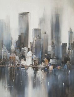 The tops of the building structures in the background are blended and hazy which corresponds with the vertical strokes that create a reflective surface effect