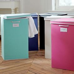This is a cute and efficient way to store and separate laundry. the Canvas Laundry bag from PBTeen