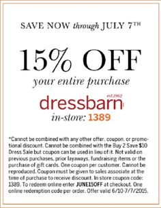 15% off your entire purchase coupon at dressbarn