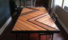 DIY dining table out of plywood with instructions.  So pretty.