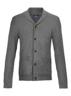 Grey Shawl Collar Cardigan - Men's Jumpers & Cardigans  - Clothing