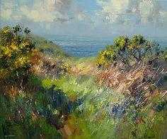 British Artist Rex PRESTON - Cornish Bluebells and Gorse
