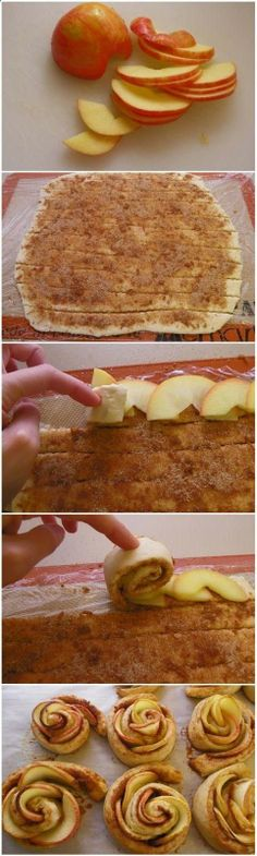 Apple Roses Recipe ~ apples, puff pastry sheet and a cinnamon mixture