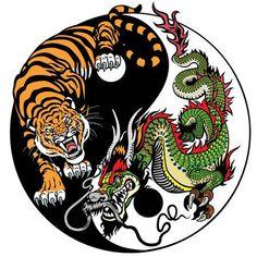 Illustration of dragon and tiger yin yang symbol of harmony and balance. Vector illustration vector art, clipart and stock vectors. Tiger Art, Vector Illustration, Dragon Tiger Tattoo, Yin Yang Art, Japanese Dragon Tattoos, Art, Dragon Tattoo, Dragon Art, Japanese Tattoo