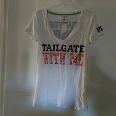 """VS Pink NFL NY Giants tee Limited--rare and hard to find.  New York Giants, with """"Tailgate with Me"""" on front  and PINK logo on sleeve PINK Victoria's Secret Tops"""