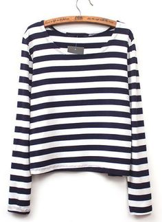 Black White Striped Long Sleeve Crop T-Shirt RUBp.585