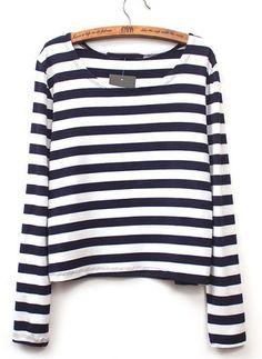 Camiseta crop rayas manga larga-blanco y negro EUR€13.07