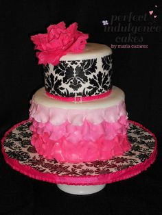 @Brandi - saw all the pinned baby things and thought of you. :) Damask and Ombre Petal Cake