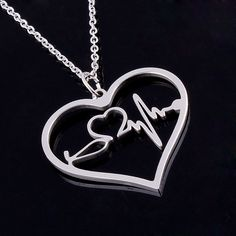 Nurses ECG Heartbeat/Stethoscope Heart Pendant Necklace (3 Colors)