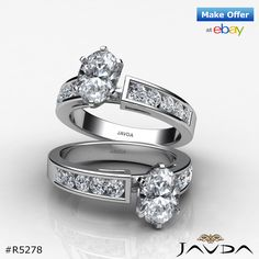 Stunning Oval Diamond Channel Engagement Ring GIA F VS2 14k White Gold 1.75 ct.