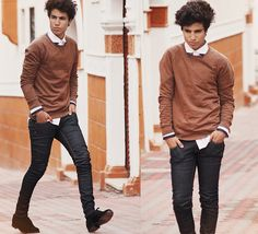 The collar tips make this look so unique! Teen Boy Fashion, Mens Fashion, Fashion Guide, Fashion Ideas, Unique Outfits, Cool Outfits, Brown Sweater, Men Sweater, Pretty Boy Swag