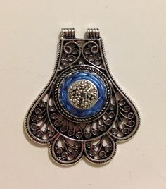 Antique Silver Filigree Pendant Blue 1681 by addicted2glassfusion on Etsy https://www.etsy.com/listing/173012791/antique-silver-filigree-pendant-blue