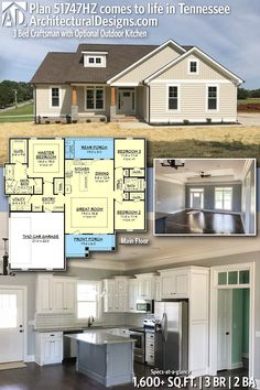 Architectural Designs Modern Farmhouse Plan 51747HZ client-built in Tennessee. 3BR   2BA   1,600+ SQ.FT.   More photos online. Ready when you are. Where do YOU want to build? Send us pictures when you do!!! #51747HZ #adhouseplans #architecturaldesigns #houseplan #architecture #newhome #newconstruction #newhouse #homedesign #dreamhome #dreamhouse #homeplan #architecture #architect #housegoals #Modernfarmhouse #Farmhouse
