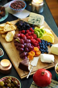 Fruit and cheese tray.