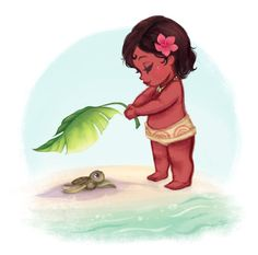 Little Moana helping a baby turtle to reach the ocean.