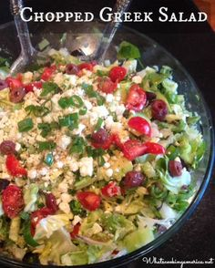 Chopped Greek Salad Recipe  |  whatscookingamerica.net  | #chopped #greek #salad