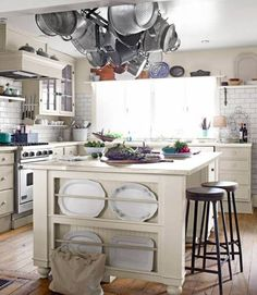 Kitchen , Farmhouse Kitchen Ideas : Farmhouse Kitchen Ideas White Island With Plates Rack And Pot Rack And Open Shelf Over Window And Wall M...