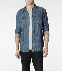 AllSaints Steel Shirt on shopstyle.com | A slim fitting, yarn dyed denim, long sleeved shirt. Made in a super soft cotton. Undergone a heavy vintage bleach wash with all over high lows. Features classic Western details with shaped yokes and anti-brass press studs. Style runs true to size. Fabric: 100% Cotton