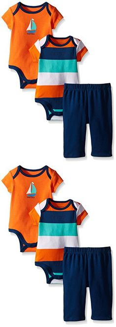 Nautica Baby Boys' 2 Pack Bodysuits and Pant Set, Orange, 0/3 Months