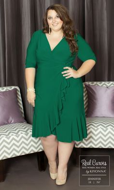 """Real Curve Cutie Jennifer (5'6"""") has us green with envy in our plus size Whimsy Wrap Dress.  The true wrap silhouette and flirty flounce detail flattered every curve and allowed her natural #BEAUTY to shine through.  www.kiyonna.com"""