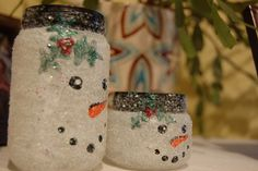 easy crafts snowmen jars