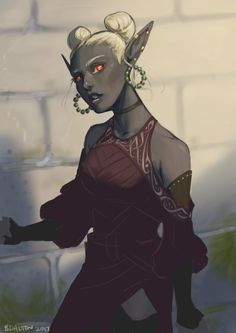 "loloraturasopranerd: ""Did a quick portrait of my D&D character: Zsaza the drow. She collects and sells on rare antiques to the underdark and will stop at nothing for the perfect set of antique ebony..."