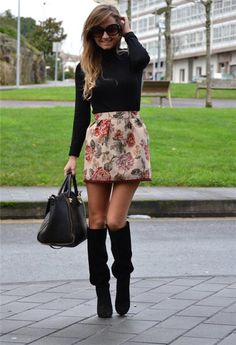 Black turtleneck with skirt and over the knee boots durupaper.com #kate_spade