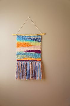 Modern Sunset Tapestry / Boho Wall Hanging / Fringe Tapestry / Gypsy Handwoven / Orange Pink Blue Green Purple / Rustic Textile / Home Décor