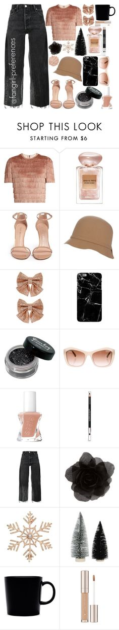 """""""Beige and Black"""" by fangirl-preferences ❤ liked on Polyvore featuring Raey, Giorgio Armani, Stuart Weitzman, Monsoon, Chanel, The Body Shop, RE/DONE, Accessorize, John Lewis and iittala"""