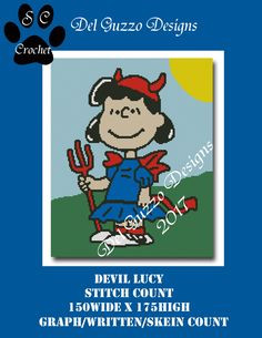 SNOOPY LUCY LIL DEVIL 150x175 SC Graph & Written | Craftsy