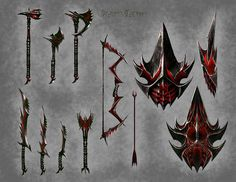 Concept art of Daedric Weapons from The Elder Scrolls V: Skyrim by Ray Lederer