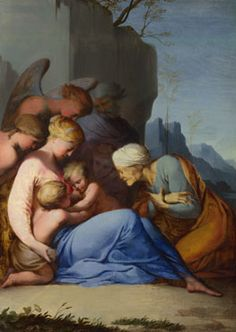 The Holy Family with Saints and Angels  about 1642, Lubin Baugin