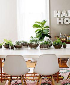 arranjo no centro de mesa feito com vários terrários e bowls de vidro