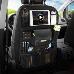 Multi-functional Leather Car Seat Back Storage Bag Organizer Pad Phone Bottle Holder with USB Charging Port - 1 Car Seat Organizer, Car Organizers, Leather Car Seats, Camper, Usb, Car Gadgets, Car Storage, Bottle Bag, Bottle Holders