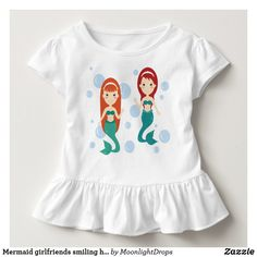 Mermaid girlfriends smiling happy in the sea toddler t-shirt